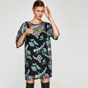 Zara floral embroidery dress